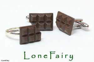 Novelty Chocolate Silver Plated Cufflinks Ring or Stud Earrings Food Jewellery