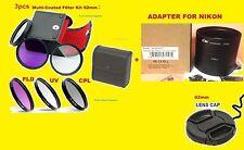 ADAPTER+FILTER KIT+LENS CAP 62mm to> CAMERA NIKON COOLPIX L810 L820 L830 L840