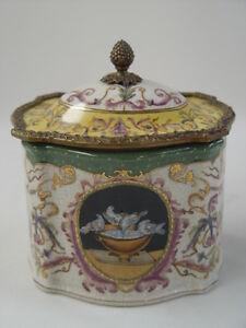 99937894-dss Messing Keramik Deckel Dose Schatulle Historismus prunkvoll H18cm