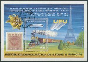 Sao Tomé und Principe 1978 UPU Zeppelin Eisenbahn Block 17 A gestempelt (C28293)
