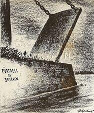 WWII Original 1944 Large Anti Axis Propaganda Art Cartoon RP- Fortress Britain