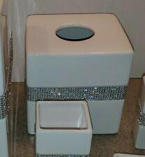 "NEW Bella Lux White Ceramic Crystal Rhinestones Tissue Kleenex Box Cover 6"""