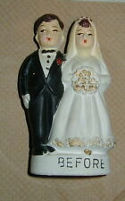 OLD CERAMIC, PLASTER? FIGURAL STILL BANK, COMIC WEDDING COUPLE, BEFORE & AFTER