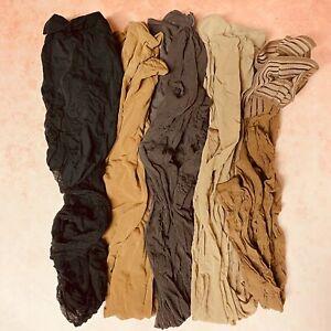 Lof of 5 Pantyhose Nylon Stockings Black Suntan Charcoal Beige + Thigh Highs
