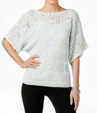 New JEANNE PIERRE Women's Cotton Green Dolman Openwork Marl-Knit Sweater Blouse