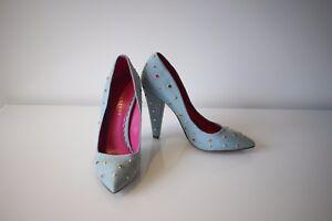 Mulberry: Womens Gems Denim Pump Heels, Size 38, NEW (AUS 7)