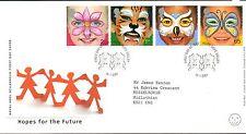 GB 2001 FDC diritto del bambino faccia dipinti, speranza Valley TIMBRO TIMBRI