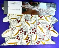 Threshold Table Runner Cream Holly Berries Gold Leaves 14.5 x 40 New