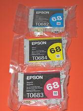 3 PKS Genuine Epson 68 Color Ink Cartridges T068520 (T0682 Cyan T0683 T0684)
