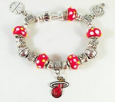 Official NBA MIAMI HEAT Basketball Charm Bracelet GLASS BEADS Red Yellow White