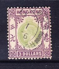 HONG KONG 1926 GV SG131 $3 green & dull purple wmk Script CA fine used. Cat £70
