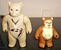 """Vintage Chief Chirpa 3"""" & Wicket The Ewok 2"""" Action Figures 1983 & 1984"""