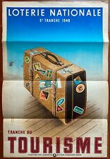 Poster Lottery National Tranche of / The Tourism Derouet-Lesacq Suitcase 1940
