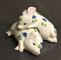 Vintage Large Salt & Pepper Shakers - Set Of 2 Pigs - White Floral - So Cute!