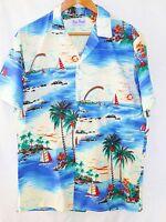 Vintage Rai Nani Blue Sailboat Rainbow Palm Tree Hawaiian Shirt Mens Size XLarge