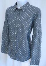 TALBOTS Womens Blue White Polka Dot Cotton Denim Button Front Blouse Shirt Sz 10