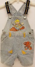 BOB THE BUILDER TODDLER BOY'S STRIPED DENIM OVERALL SHORTS~100% COTTON~24 MO~VGC