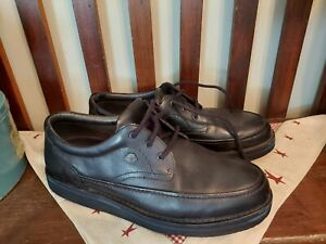 The Body Shoe Men's 14 W Wide Hush Puppies Black Leather Walking Comfort Shoes
