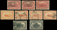 US Scott Used (3) #286, (3 Used, 1 Mint), #287 (2) #290 TRANS-MISSISSIPPI Stamps
