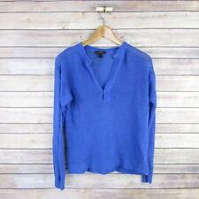 3b62744fd8 J.CREW Women s Slit-neck Beach Sweater Linen Long Sleeve V Neck Top XXS
