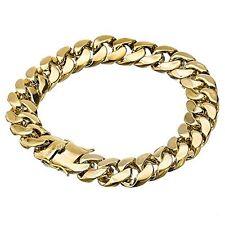 14 mm 9 inch 14K Gold Finish Miami Curb Cuban Men's  Hip Hop Bracelet