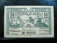 New Caledonia 50 Centimes 1942 French 26E# Currency World Money Banknote