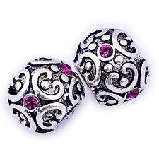 5Pcs silver plated Fuchsia Birthstone European Charms Beads Fit Charm Bracelet