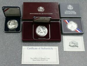 1992 PROOF OLYMPIC BASEBALL MT RUSHMORE WWII 50TH SILVER 90%