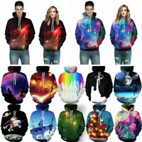 3D Graphic Print Hoodie Sweatshirt Jacket Pullover Top Jumpers Men Women Artwork