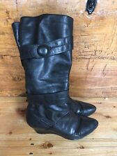 Lovely Black Leather Ladies Autumn Boots/Size 7/Oasis/Zipped/Long /Under Knee