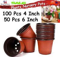 PLASTIC PLANTING POTS Seed Starter Outdoor Vegetable Flower Plant Garden 4'' 6''