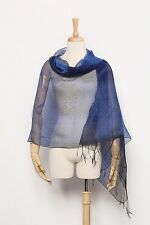 Silk and Viscose Organza Shawl Wrap Scarf Navy Blue with Silver Threads COT601
