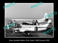 OLD HISTORIC AVIATION PHOTO TAA TRANS AUSTRALIA AIRLINES VICKERS VISCOUNT 1959