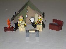 Lego Custom U.S. Desert Camoflauge Tent Playset w/ 2 Minifigs Modern Warfare