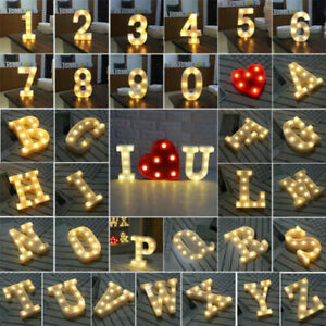 LED Light Up Alphabet Letters Warm White Lights Plastic Numbers Standing UK