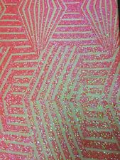 "Pink Hologram Bombshell Sequin Stretch Lace Apparel Fabric - BTY - 54"" / 55"""
