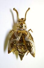 """Vintage Damascene Bug Pin / Brooch Gold Tone Metal Insect Made in Spain 1.5"""" L"""