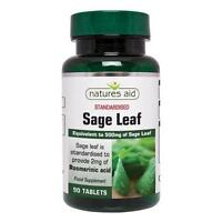 Natures Aid Sage Leaf - 90 Tablets - May help Menopause Sweats & Hot flushes