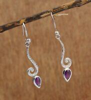 925 Sterling Silver Jewelry Amethyst Gemstone Daily Wear Woman's Gift Earring