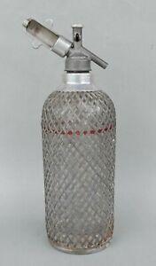 Antike Sodaflasche mit Metallnetz - Siphon Flasche um 1930