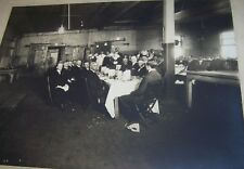 c1900 ANTIQUE MEN EATING MEAL INDUSTRIAL FACTORY MACHINE SHOP PHOTO ROCHESTER NY