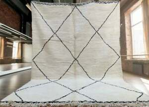 Beni Ourain rug , fluffy moroccan carpet , Wool Area rug , Hand-Knotted Moroccan