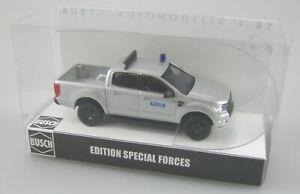 Busch 1:87,Ford Ranger Pick-up silbermetallic Polizei SEK-GSG9-SWAT Limited Neu