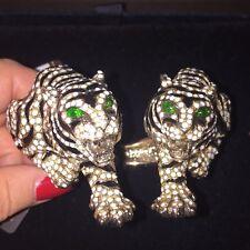 ROBERTO CAVALLI Moonstone Gold-plated Swarovski Crystal Tiger Cuff Bracelet