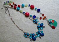 MULTI COLOR BLUE LUCITE BEADED PENDANT SILVER TONE CHAIN NECKLACE LOT