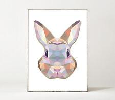POLYGONAL: HASE / Kunstdruck Poster geometrisch polygonal 3D abstrakt Tier