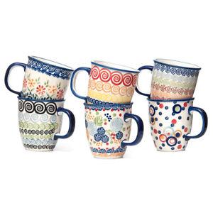 Bunzlauer Keramik Becher Henkelbecher Tassen 300ml 6er Set Handbemalt