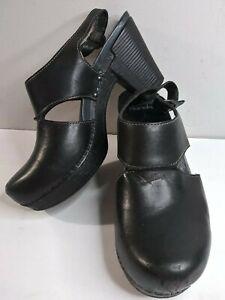DANSKO RILEY Women 39 Black Leather Slingback Clogs Heels Pro Pump