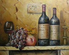 """Oil Painting of Still Life Peach Grape Fruit by Glass Bottles of Wine 16x20"""""""