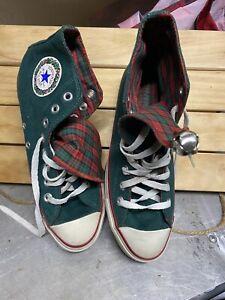 Vintage Converse Chuck Taylor Elf Christmas Size 6.5Jingle Bells Green Plaid USA
